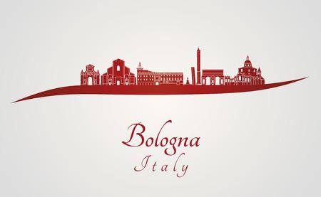編集可能なベクトル ファイル内の赤と灰色の背景でボローニャ スカイライン  イラスト・ベクター素材