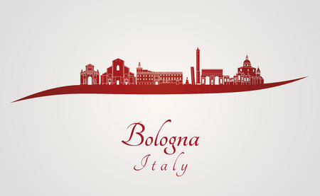bologna: Bologna skyline in red and gray background in editable vector file