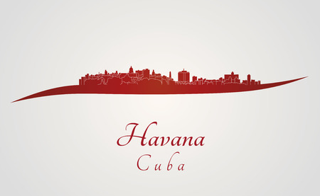 havana: Havana skyline in red and gray background in editable vector file Illustration