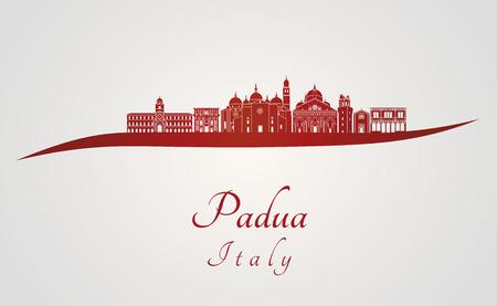 편집 가능한 벡터 파일 빨간색과 회색 배경에 파도바의 스카이 라인