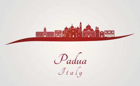 Padua skyline in red and gray background in editable vector file