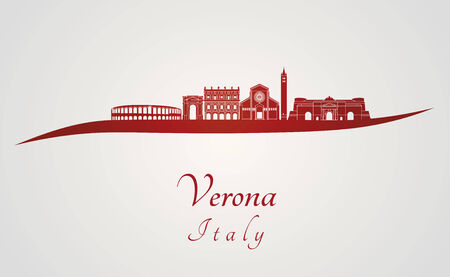 verona: Verona skyline in red and gray background in editable vector file