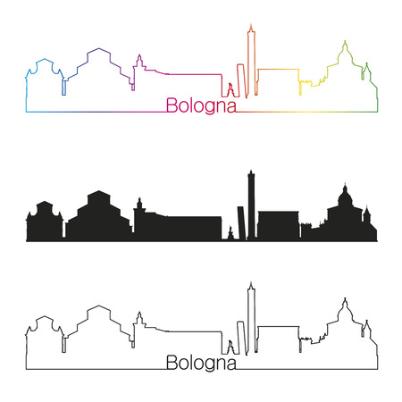 bologna: Bologna skyline linear style with rainbow in editable vector file