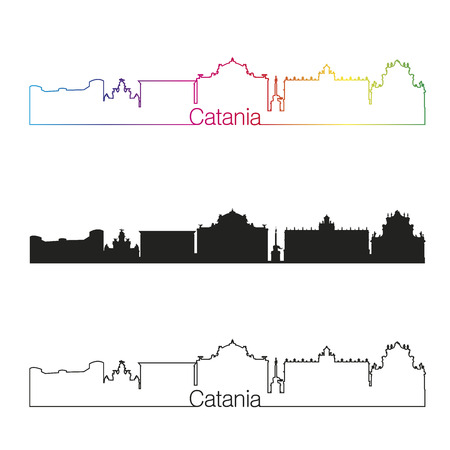catania: Catania skyline linear style with rainbow in editable vector file