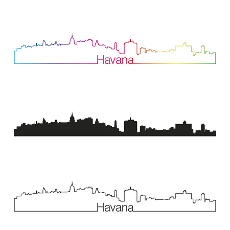 havana: Havana skyline linear style with rainbow in editable vector file