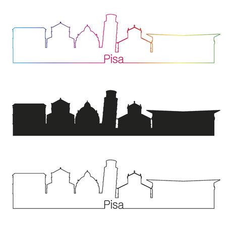 pisa: Pisa skyline linear style with rainbow in editable vector file