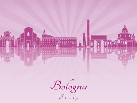 bologna: Bologna skyline in purple radiant orchid in editable vector file