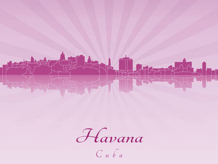 havana: Havana skyline in purple radiant orchid in editable vector file
