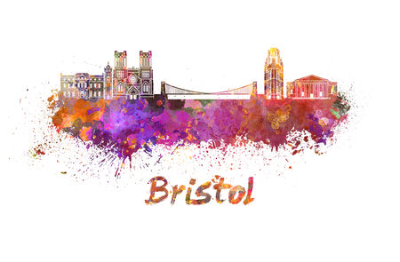 bristol: Bristol skyline in watercolor splatters with clipping path