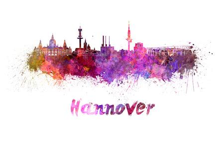 Horizonte de Hannover en salpicaduras de acuarela con trazado de recorte Foto de archivo - 34009426