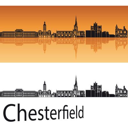 編集可能なベクトル ファイルでオレンジ色の背景のチェスター フィールドのスカイライン