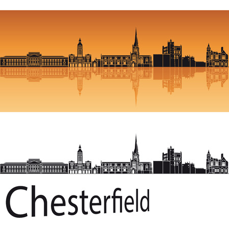 Chesterfield  skyline in orange background in editable vector file
