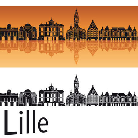 lille: Lille skyline in orange background in editable vector file