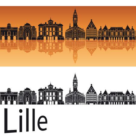 Lille skyline in orange background in editable vector file 版權商用圖片 - 34189113