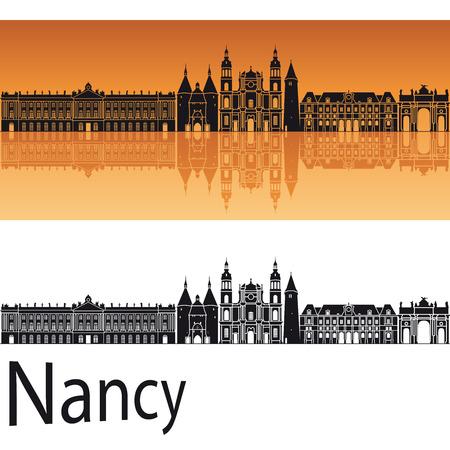 Nancy skyline in orange background Illustration