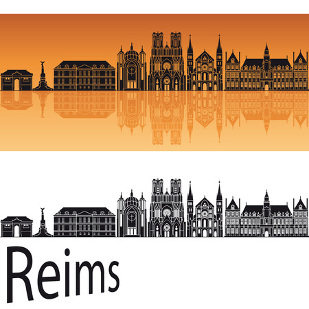 Reims skyline in orange background Ilustração