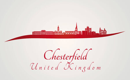 chesterfield: Chesterfield skyline in red and gray background in editable vector file