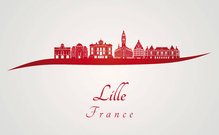 lille: Lille skyline in red and gray background in editable vector file Illustration