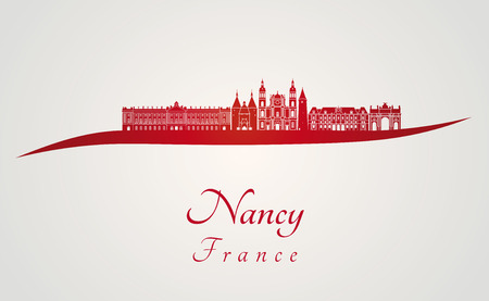 Nancy skyline in red and gray background in editable vector file