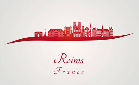 Reims skyline in red and gray background in editable vector file Illustration