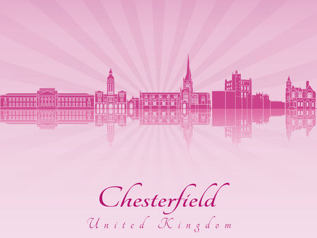 radiant: Chesterfield skyline in purple radiant orchid in editable vector file Illustration