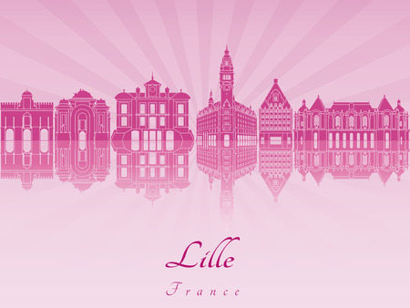 lille: Lille skyline in purple radiant orchid in editable vector file
