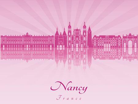 Nancy skyline in purple radiant orchid in editable vector file