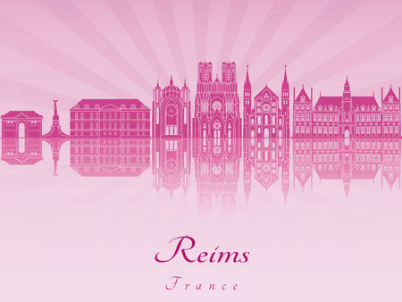 reims: Reims skyline in purple radiant orchid in editable vector file