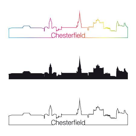 chesterfield: Chesterfield skyline linear style with rainbow in editable vector file