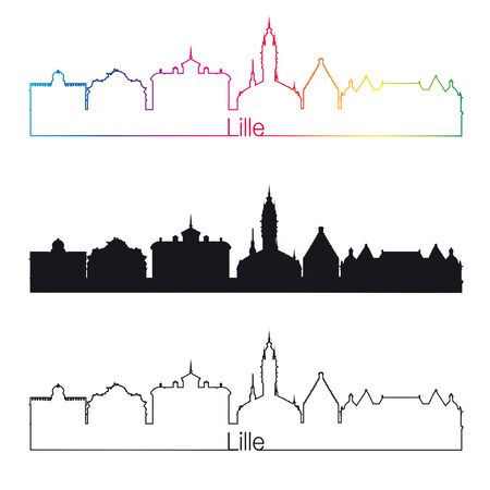 lille: Lille skyline linear style with rainbow in editable vector file