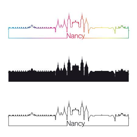 Nancy skyline linear style with rainbow in editable vector file