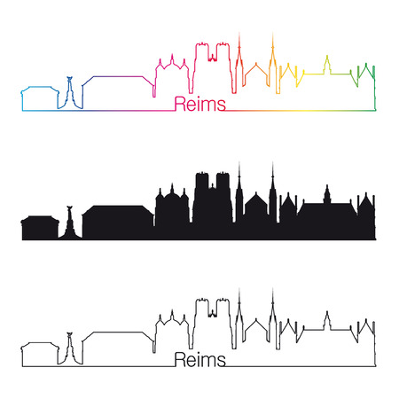 reims: Reims skyline linear style with rainbow in editable vector file