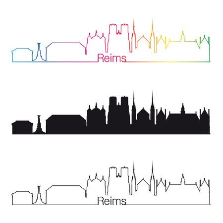Reims skyline linear style with rainbow in editable vector file