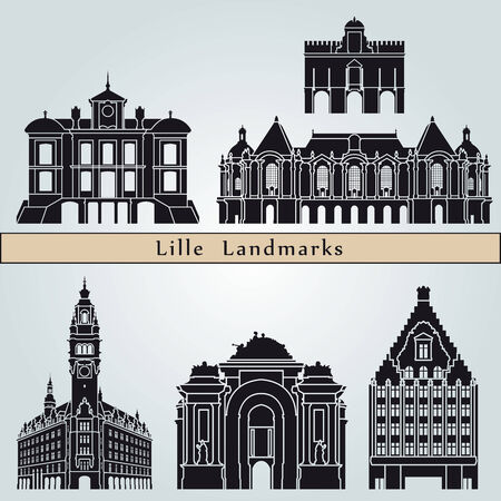 city background: Lille landmarks and monuments isolated on blue background in editable vector file Illustration