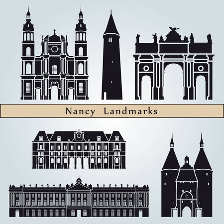Nancy landmarks and monuments isolated on blue background in editable vector file