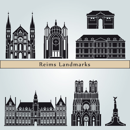 Reims landmarks and monuments isolated on blue background in editable vector file