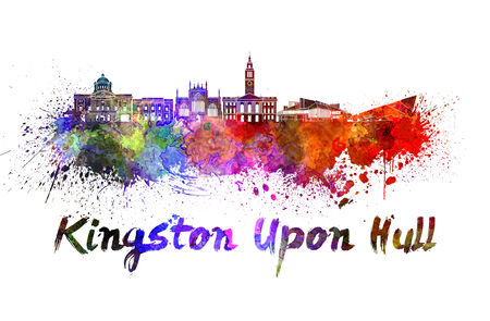 kingston: Kingston Upon Hull skyline in watercolor splatters with clipping path