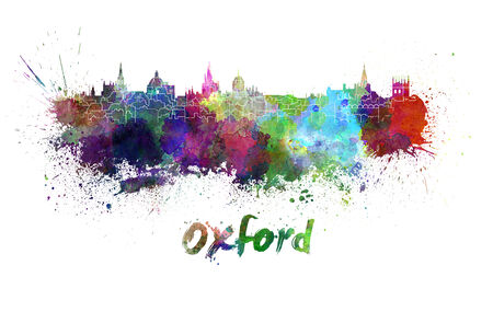 oxford: Oxford skyline in watercolor splatters with clipping path