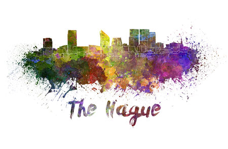 The Hague skyline in watercolor splatters with clipping path