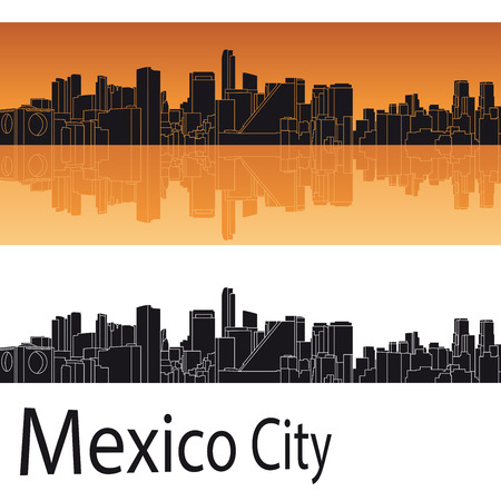 編集可能なベクトル ファイルでオレンジ色の背景のメキシコ市のスカイライン  イラスト・ベクター素材