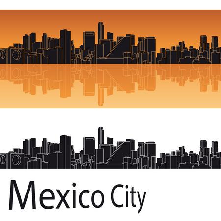 편집 가능한 벡터 파일에 오렌지 배경에서 멕시코 시티의 스카이 라인