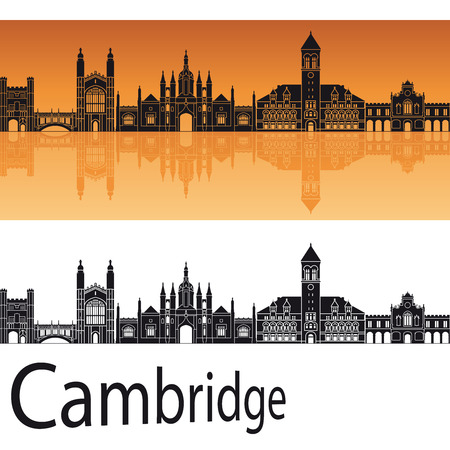 Cambridge skyline in orange background in editable vector file
