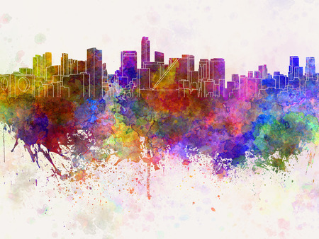 mexico city: Mexico City skyline in watercolor background