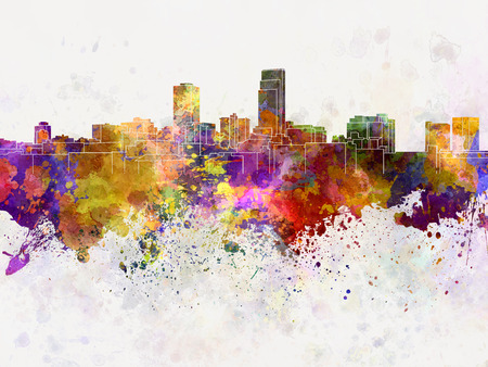 omaha: Omaha skyline in watercolor background