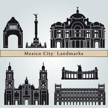 Lugares y monumentos Ciudad de México aislado en el fondo azul en el archivo vectorial editable Vectores