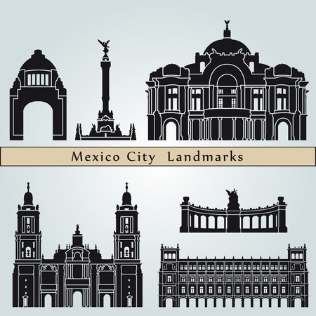city  buildings: Mexico City landmarks and monuments isolated on blue background in editable vector file