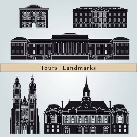 tours: Tours landmarks and monuments isolated on blue background in editable vector file