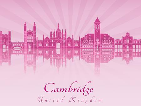 radiant: Cambridge skyline in purple radiant orchid in editable vector file