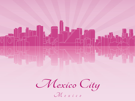 Mexico-Stad skyline in paars stralende orchidee in bewerkbare vector-bestand