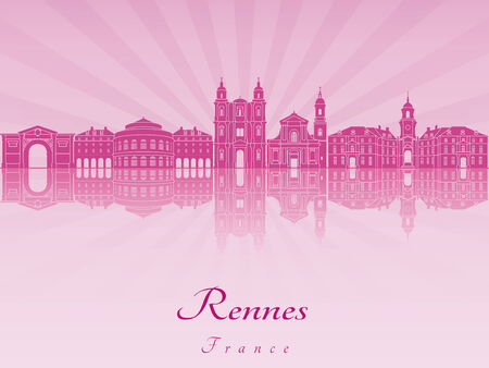 radiant: Rennes skyline in purple radiant orchid in editable vector file